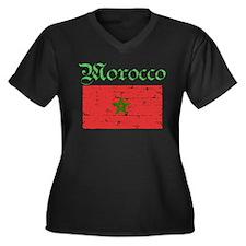 Moroccan grunge flag Women's Plus Size V-Neck Dark