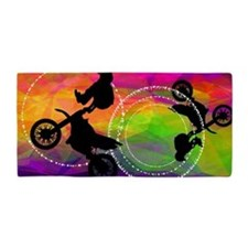 Motocross in Fire Circles BEACH TOWEL Beach Towel