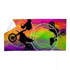 Motocross in Fire Circles BEACH TOWEL Beach Towel
