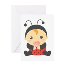 Cute Baby Girl in Ladybug Costume Greeting Cards