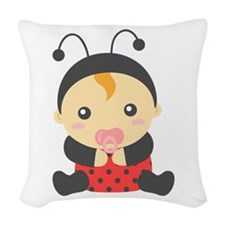 Cute Baby Girl in Ladybug Costume Woven Throw Pill