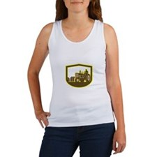 Farmer Driving Tractor Plowing Farm Shield Retro T