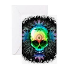 Marijuana Psychedelic Skull Greeting Cards