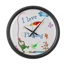 froggy Gone Fishing Large Wall Clock