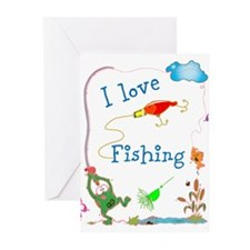 I LOve Fishing Froggy Greeting Cards