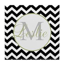 Monogrammed Bandana Tile Coaster