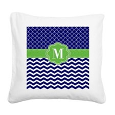 Navy Green Quatrefoil Chevron Monogram Square Canv