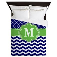 Navy Green Quatrefoil Chevron Monogram Queen Duvet