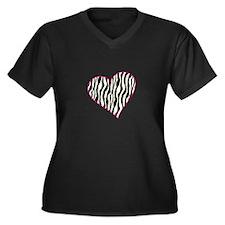 Zebra Heart Plus Size T-Shirt