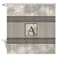 Personalizable Marble Monogram Shower Curtain