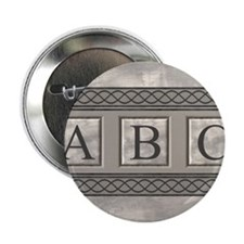 "Personalizable Marble Monogram 2.25"" Button"