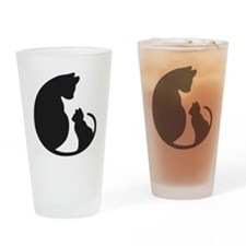 CAT WITH MOM Drinking Glass