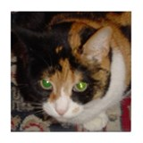 Calico Cat on Rug Tile Coaster