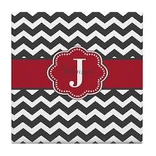 Gray Red Chevron Personalized Tile Coaster