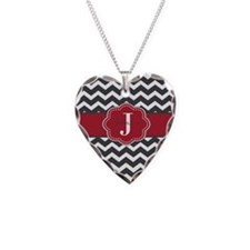 Gray Red Chevron Personalized Necklace