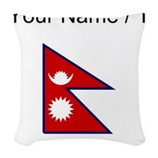 Custom Nepal Flag Woven Throw Pillow