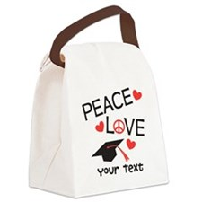 Personalize Peace Love Grad Canvas Lunch Bag