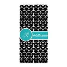 Black and White Monogram Beach Towel