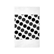 Large Black Dark Gray and White Polka Dots 3'x5' A