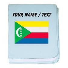 Custom Comoros Flag baby blanket