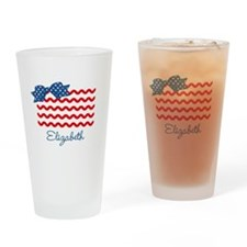 Girly Rick Rack Flag Drinking Glass