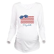 Girly Rick Rack Flag Long Sleeve Maternity T-Shirt