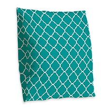 Aqua Marine Quatrefoil Pattern Burlap Throw Pillow