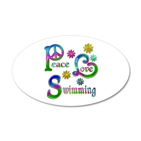Peace Love Swimming 20x12 Oval Wall Decal
