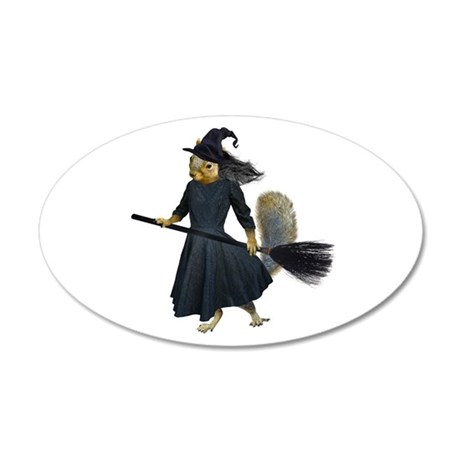 Squirrel Witch 20x12 Oval Wall Decal