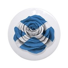 Scottish Rose Flag on White Ornament (Round)