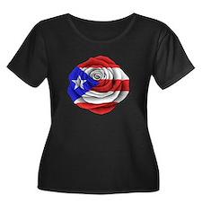 Puerto Rican Rose Flag Plus Size T-Shirt