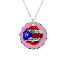 Puerto Rican Rose Flag on Pink Necklace