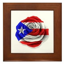 Puerto Rican Rose Flag on White Framed Tile