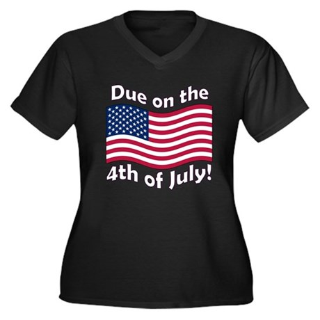 Due in July Women's Plus Size V-Neck Dark T-Shirt