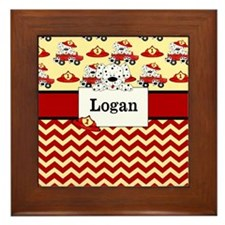 Fireman Dalmatians Personalized Framed Tile