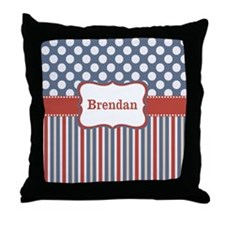 Red Blue Stripes Dots Personalized Throw Pillow