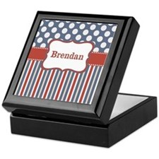 Red Blue Stripes Dots Personalized Keepsake Box