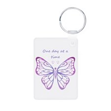 One Day At A Time Quote Butterfly Art Keychains