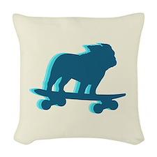 Skateboarding Bulldog Woven Throw Pillow