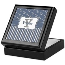 Blue Anchors Personalized Keepsake Box