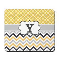 Yellow Gray Quatrefoil Chevron Monogram Mousepad