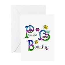Peace Love Bowling Greeting Card