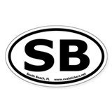 "South Beach, FL ""SB"" Oval Car Decal"