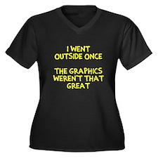I went outsi Women's Plus Size V-Neck Dark T-Shirt