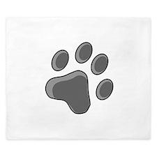 Grey Cat Paw Print King Duvet