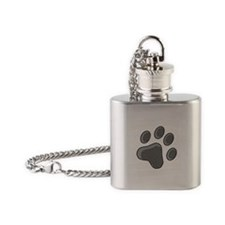 Grey Cat Paw Print Flask Necklace