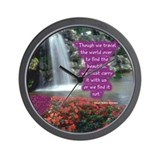 Beautiful Waterfall With Emerson Quote Wall Clock