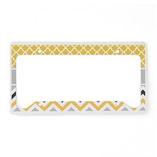 Yellow Gray Chevron Quatrefoil Monogram License Pl
