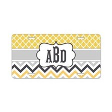 Yellow Gray Chevron Quatrefoil Monogram Aluminum L