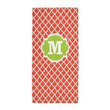 Coral Lime Green Quatrefoil Monogram Beach Towel